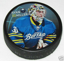RYAN MILLER Buffalo Sabres PLAYER PHOTO PUCK 2013 NEW #30 In Glas Co.