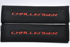 Embroidery Red on Black Seat Belt Cover Shoulder Pads Pair for Dodge Challenger