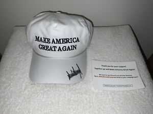 President Donald Trump Signed Autograph White MAGA Hat 2016 Fundraiser Item