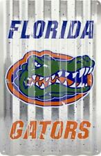 "FLORIDA GATORS CORRUGATED METAL SIGN 12"" X 18"" UNIVERSITY TIN RETRO MAN CAVE"