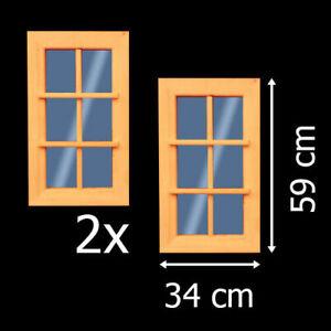 2x Fenster 34x59 cm feststehend Holzfenster  Gartenhausfenster Carport  +NEU+