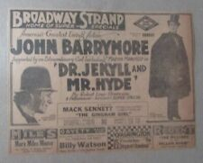 "1920 DR JEKYLL & MR HYDE 8.25x6.25"" Movie Print Ad VG+ 4.5 John Barrymore"