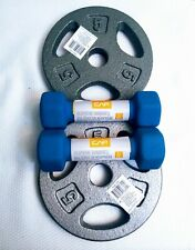 "1 Pair (2) CAP Standard 5 Lb.  1"" Grip Barbell Weight Plates *W/ (2)2lb Dumbells"