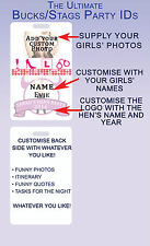 Custom Hens Night Bachelorette Party ID badge Card (FREE lanyard for Oz Buyers!)