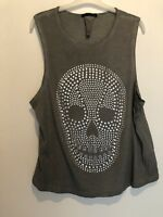 GREY DIAMANTE SKULL VEST TOP UK 12 PARTY FESTIVAL BOHO IBIZA SUMMER CELEB BEACH
