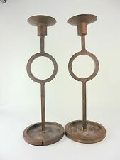 Wrought Iron Metal Rustic Pair of Taper Candle Holders