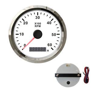 0-6000RPM 85mm 12V 24V Waterproof Tachometer Speedometer Gauge With Hour meter