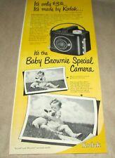 "KODAK--{Orig. Product Ad--{6""x 14""}--[1949]--<BABY BROWNIE SPECIAL CAMERA>"