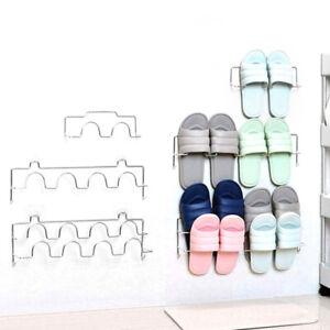 Wall Mounted Slipper Storage Rack Hanging Shelf Shoes Organizer Holder Hook MO