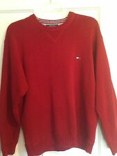 Tommy Hilfiger Mens Size Large Heavy Knitted Cotton Sweater Logo On Front