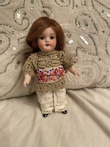 "Pretty, Sweet Antique All Bisque 6"" German Doll With Replacement Body"