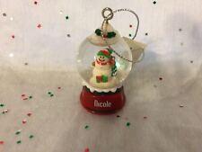 NICOLE Ganz Glass Snowman Snowglobe Ornament Stocking Stuffer Gift