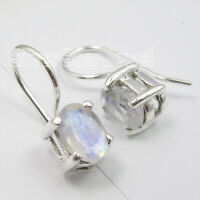 Genuine Rainbow Moonstone Dangle Earrings Sterling Silver Fashion Jewelry