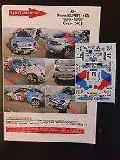 DECALS 1/43 FORD PUMA FRANCOIS DUVAL RALLYE TOUR DE CORSE FRANCE 2001 WRC RALLY
