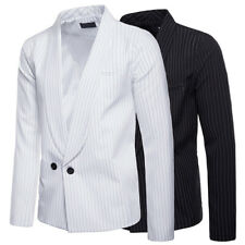 Mens Slim Striped Suit Jacket Smart Business Casual Dinner Wedding Blazer