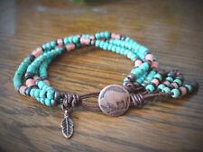 Southwestern Seed Bead Handmade 4 Strand Leather Wrap Bracelet