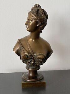 Antike Frauen Kopf Büste Bronze Signiert