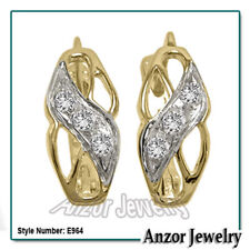 Diamond Earrings 14k (585) Solid Yellow & White Gold #E964