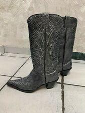 Botas Jaca Boots Stiefel Damen Cowboy Crocodile grau Silber Mexico Leder Gr 39