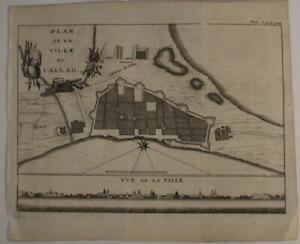 CALLAO PERU 1722 FRANCISCO COREAL UNUSUAL ANTIQUE ORIIGNAL COPPER ENGRAVED MAP