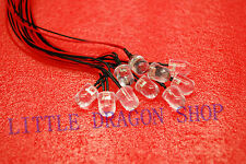 10pcs   10mm RED  Flash 20cm Wired LED Light 12V US SHIPPING A347