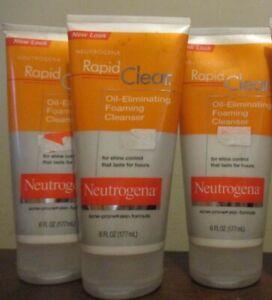 3x Neutrogena Rapid Clear Oil Eliminating Foaming Cleanser 6oz Acne Prone Skin