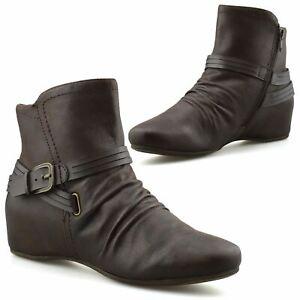 Womens Mid Wedge Hidden Heel Zip Up Pixie Booties Ankle Biker Boots Shoes Size