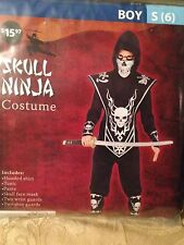 NWT Fun World Boy's Skull Lord Ninja Costume/Fancy Dress Outfit Size Small Age 6