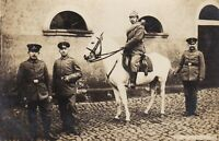 WW1 GERMAN RIDER ARMY PIKELHAUBE CAVALRY HORSE WAR ANTIQUE RPPC PHOTO POSTCARD