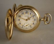 109 YEARS OLD WALTHAM 14k GOLD FILLED HUNTER CASE FANCY DIAL GREAT POCKET WATCH