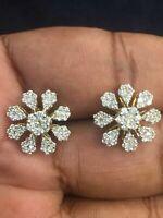 Pave 1,31 Cts Ronde Brillante Couper Diamants Clous Boucles d'oreilles En 18K Or
