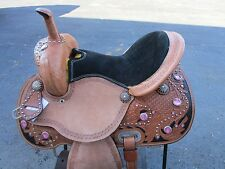 15 16 PINK BARREL RACING SHOW SILVER PLEASURE LEATHER WESTERN HORSE SADDLE TACK