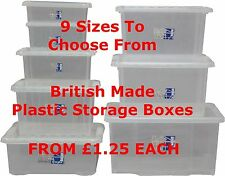 NEW British Plastic Storage Boxes With Lids CHEAP! Clear Boxes Different Sizes