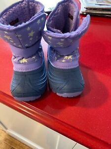 Girls Purple Snow Boots With Stars Size 12