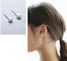 Fashion Simple Square 925 Silver Plated Mini Lady Asian All_match Stud Earings
