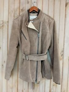 COACH Suede Leather Shearling $795 Belted Motorcycle Jacket- Women's XL