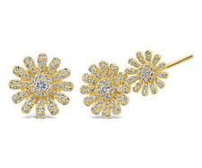 0.39 CT 14K Yellow Gold Natural Round Diamond Ear Crawler Stud Flower Earrings