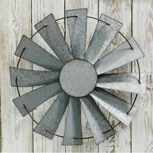 Rustic Country Farmhouse Barn Windmill Wall Hanging Galvanized Metal Primitive