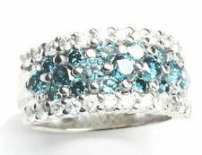 2.5 ctw Natural Blue White Diamond Solid 14k White Gold Wide Stackable Band Ring