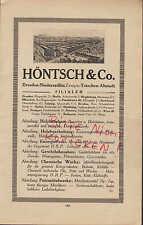 NIEDERSEDLITZ-DRESDEN, Werbung 1920, Höntsch & Co. Holz-Bearbeitung-Bau