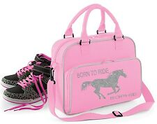 Personalised Pink/Grey ~ Born to Ride ~ Silver Glitter ~ School Bag Horse Pony