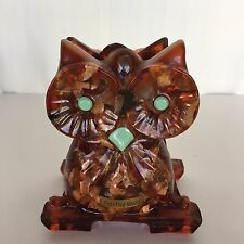 Vintage Owl Napkin Mail Holder Amber Resin Petrified Wood MCM Kitsch Bird Fowl