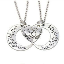 2Pc I Love You to the Moon and Back Mother Daughter Heart Necklace Pendant Cheap
