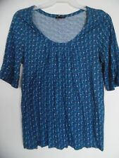 DAISY FUENTES  Blue Scoop Neck Polka Dot  Blouse Top Shirt Tunic  Sz M