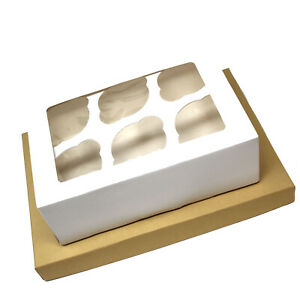6 HOLE WHITE CUPCAKE BOXES CLEAR WINDOW LID FOLDABLE VERY STRONG CUP CAKE BOX