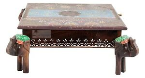 Indian Beautifull FoodStand Chowki Table,Elephant Storage Chest Coffee Table