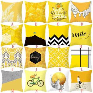 Yellow Art Print Pillow Case Sofa Car Waist Throw Cushion Cover Home Decoration