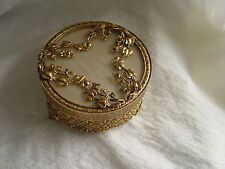 VINTAGE GORGEOUS DESIGNER'S MADE JEWELRY BOX, FOOTED,GOLD TONED METAL,GLASS,USA