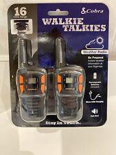 New Cobra 16 Mile Range Rechargeable Walkie Talkie W/ Weather Radio 2 Set Cxt195