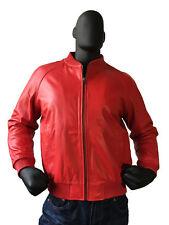 Jakewood Genuine Lambskin Leather Baseball Varsity Jacket Red XL